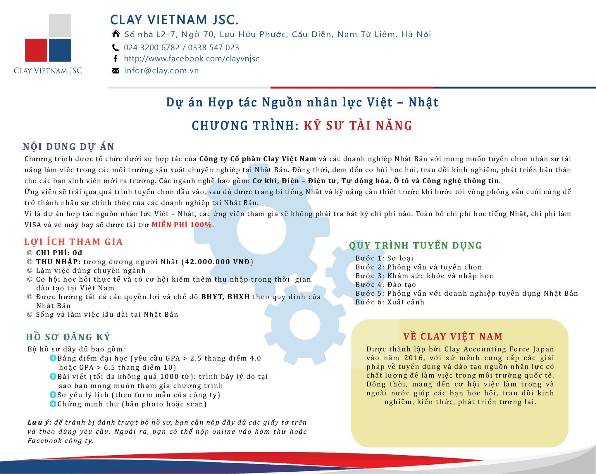 Chương trình tuyển sinh đào tạo kỹ sư tài năng làm việc tại Nhật Bản của Công ty CP Clay Việt Nam