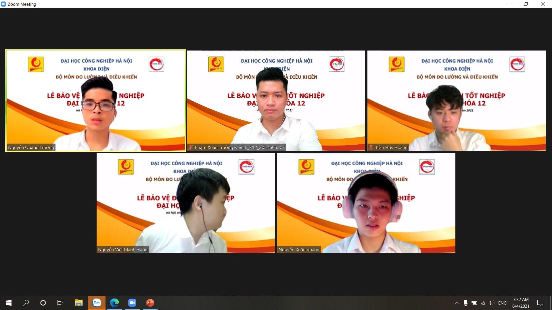 Khoa điện tổ chức thành công tuần lễ bảo vệ ĐATN cho sinh viên Đại học chính quy K12 bằng hình thức trực tuyến